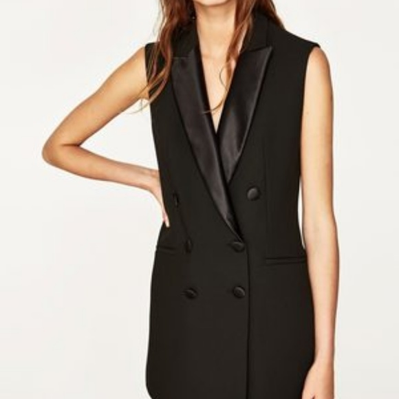 Zara Jackets Coats Sleeveless Tuxedo Coat Dress L Poshmark